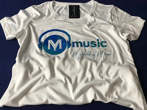 Signature White Soft Style T-Shirt (Holographic Aqua Print)