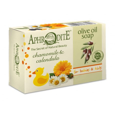 APHRODITE Olive oil soap with Chamomile & Calendula for Babies & Kids 100g
