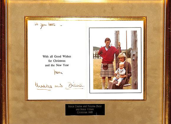 Prince Charles and Princess Diana signed card: