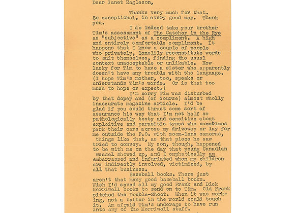 J. D. Salinger Typed Letter Signed