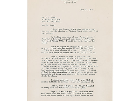 Orville Wright Typed Letter Signed