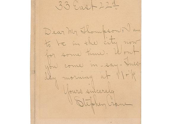 Stephen Crane Autograph Letter Signed