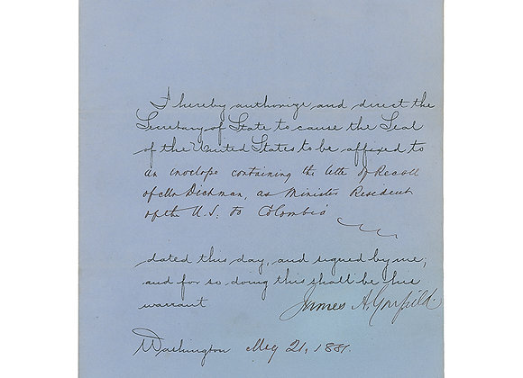 James A. Garfield Signed Document