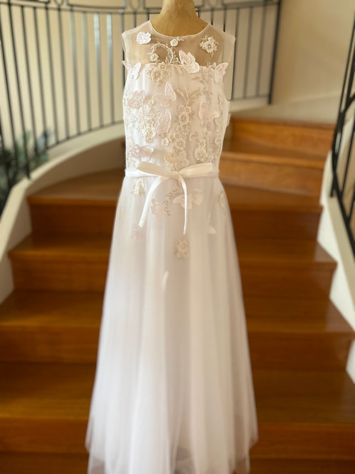 Communion Flowergirl Dress Butterflies White