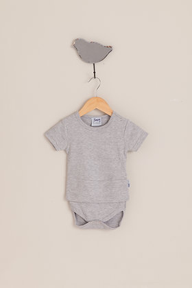 Cloudy grey short sleeve bodysuit top