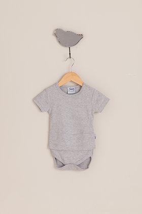 Cloudy grey short sleeve bodysuit top