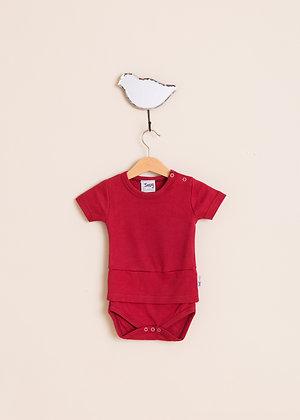 Berry red short sleeve bodysuit top