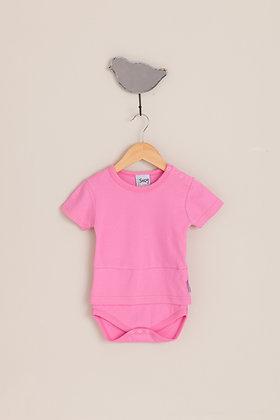 Playful pink short sleeve bodysuit top
