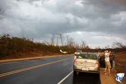 Dave gets out to take some pictures of the damage where an apparent tornado crossed State Road 21 wh