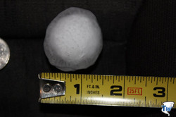 1.5 in diameter was the biggest hail stone we found. Thank goodness we weren't in the area when this