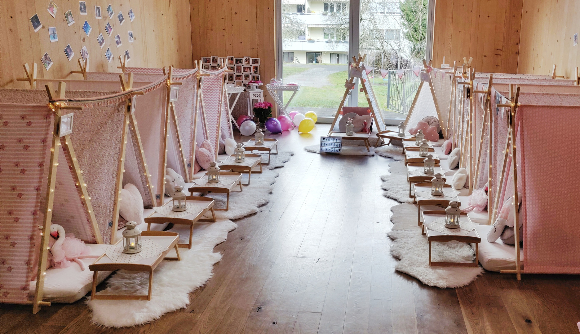 Teepee Friends Kinderparty Rosa Gesamt.j