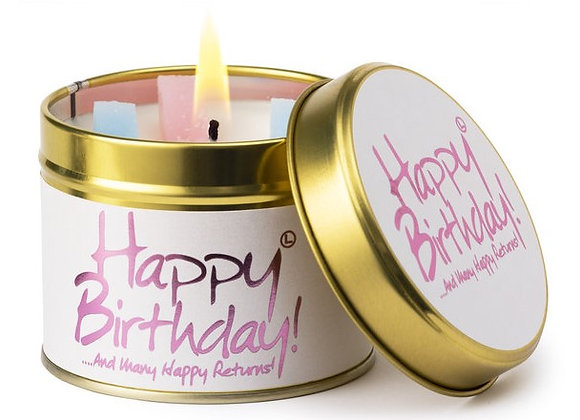 "Lily Flame ""Happy Birthday"" Scented Tin Candle"