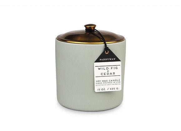 Paddywax Hygge 15oz Ceramic Candle - Wild Fig & Cedar