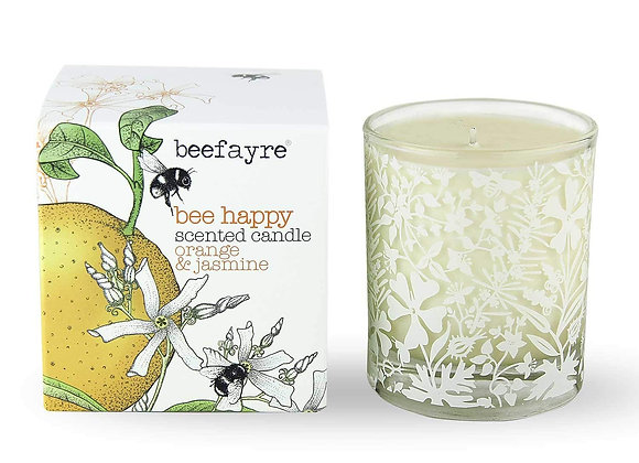 Beefayre Candle Bee Happy Orange and Jasmine Large Scented Candle