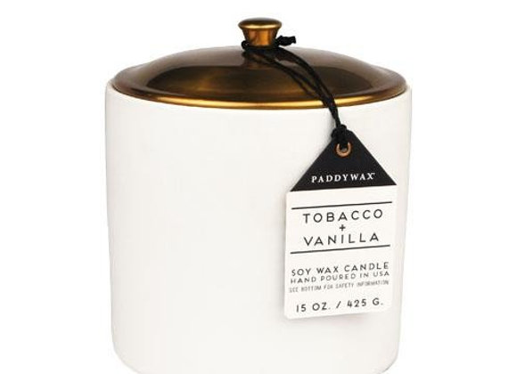 Paddywax Hygge 15oz Ceramic Candle - Tobacco &Vanilla
