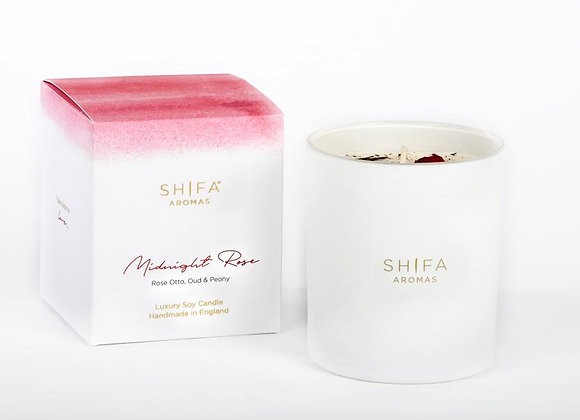Shifa Aromas - Midnight Rose Luxury Scented Candle - Rose Otto, Peony & Oud
