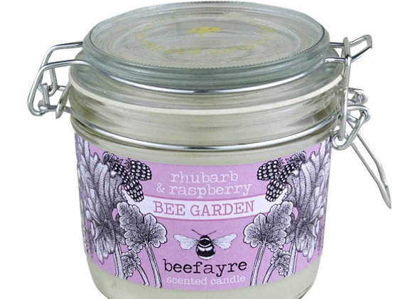 Beefayre Candle - Bee Garden  Rhubarb & Raspberry  Scented Kitchen Candle  350g