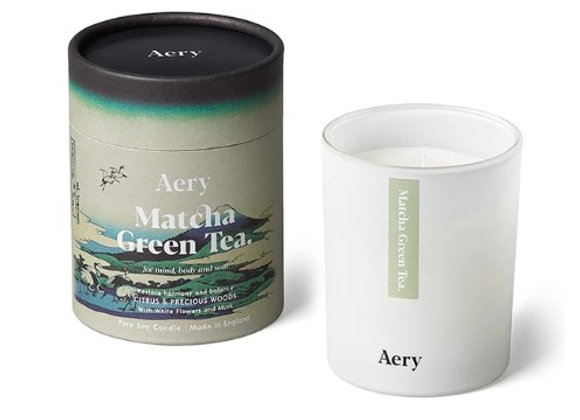 Aery Matcha Green Tea Scented Candle - Citrus & Precious Woods 200g