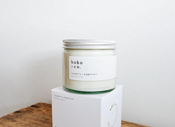 Hobo & Co  - Raspberry + Peppercorn Large Jar Candle