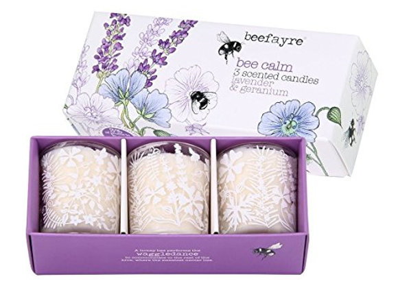 Beefayre Candle Bee Calm 3 Scented Candles - Lavender & Geranium Gift Set