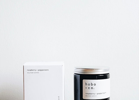 Hobo & Co  - Raspberry & Peppercorn Medium Jar Candle