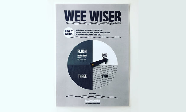 Conceptualised by  Kayli Vee Levitan, award-winning creative copywriter, the weewiser is an interactive poster design that destroys the loo taboo around not flushing, to let yellow mellow, and save water in the cape town drought