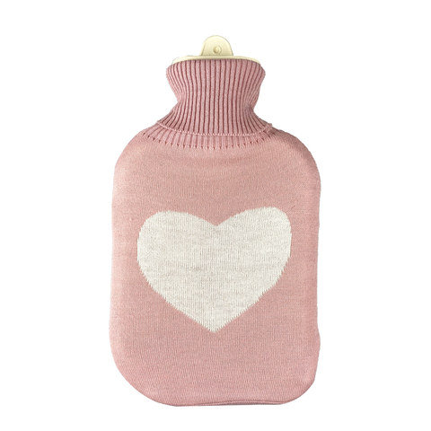 2L Hot Water Bottle with Cover - Love Heart Knit