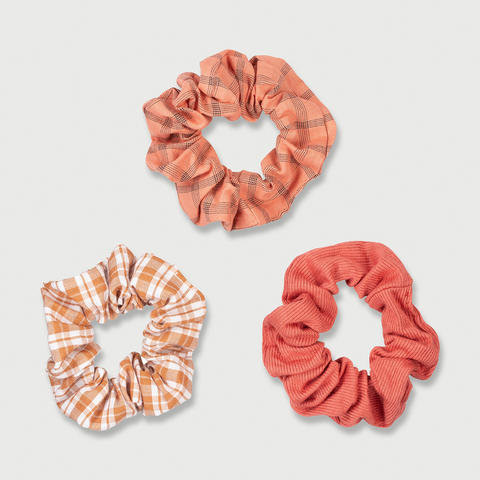 3 Pack Mini Hair Scrunchies - Orange