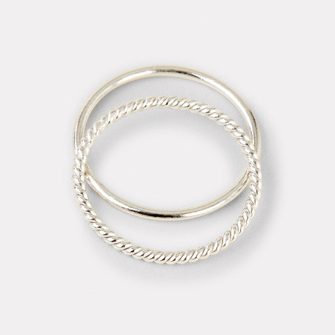 2 Pack Sterling Silver Plain and Twist Ring - Silver Look