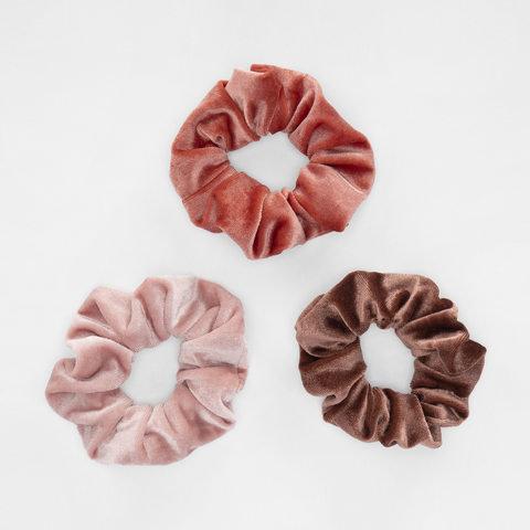 3 Pack Velvet Hair Scrunchies - Nude Pink