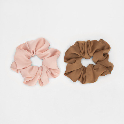 2 Pack Oversized Hair Scrunchies - Pink and Brown