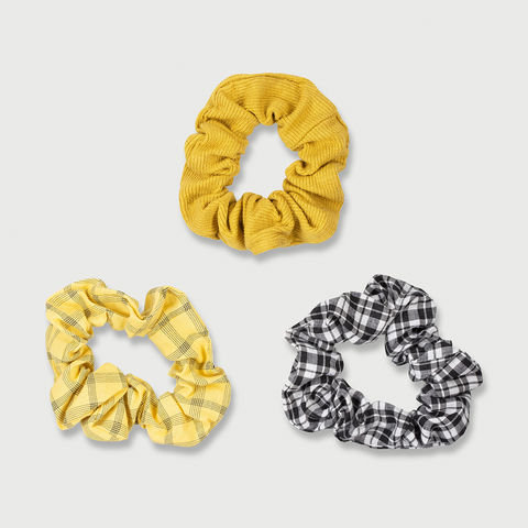 3 Pack Mini Hair Scrunchies - Yellow