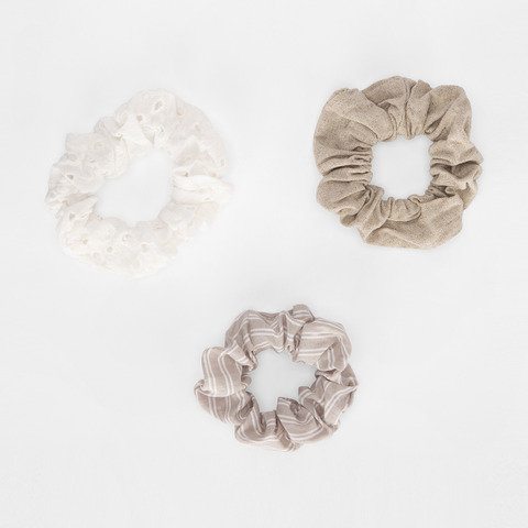 3 Pack Linen Look Hair Scrunchies - Natural