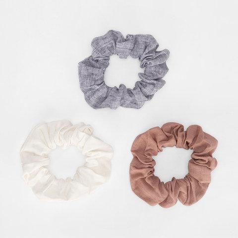 3 Pack Linen Look Hair Scrunchies