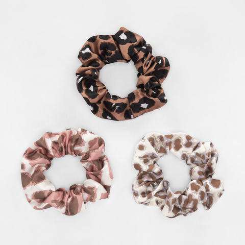 3 Pack Mix Print Satin Hair Scrunchies - Leopard