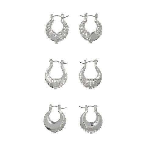 3 Pack Mini Hoop Earrings - Silver Look