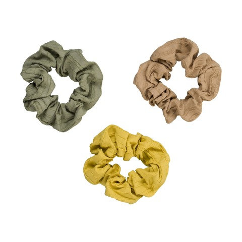 3 Pack Textured Woven Scrunchies
