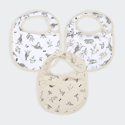 3 Pack Organic Cotton Bibs - Kangaroo
