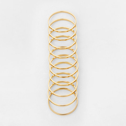 10 Pack Basic Stacking Rings - Small/Medium, Gold Look