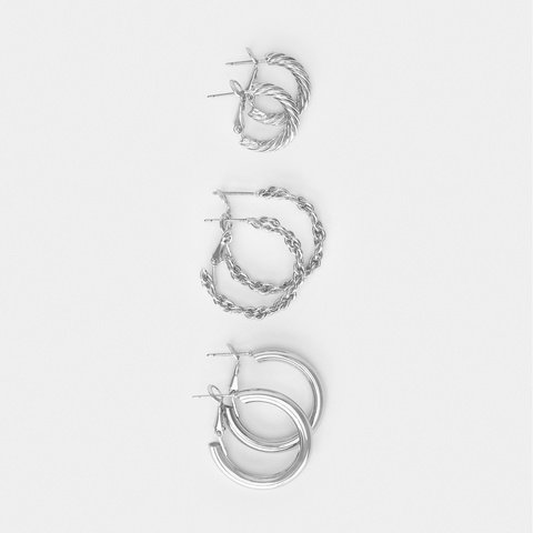 3 Pack Chain and Twisted Hoop Earrings - Silver Look