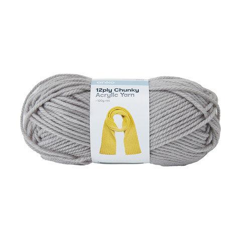 12 Ply Chunky Acrylic Yarn - Grey