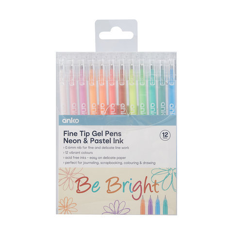 12 Pack Fine Tip Neon and Pastel Ink Gel Pens