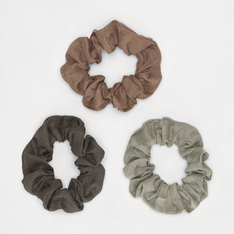 3 Pack Light Woven Hair Scrunchies - Black, Pink and Green