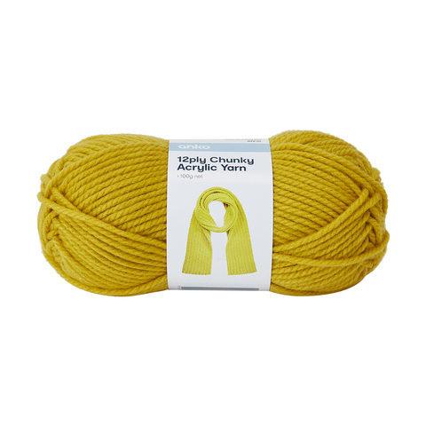 12 Ply Chunky Acrylic Yarn - Mustard