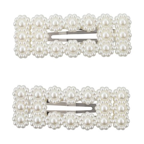 2 Pack Faux Pearl Flower Rectangular Snap Clips