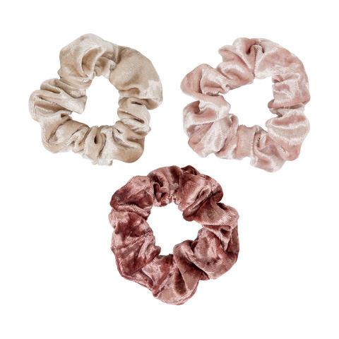 3 Pack Shimmer Velvet Look Scrunchies - Pink