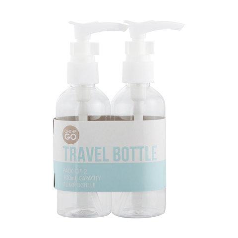 2 Pack 100ml Pump Travel Bottles