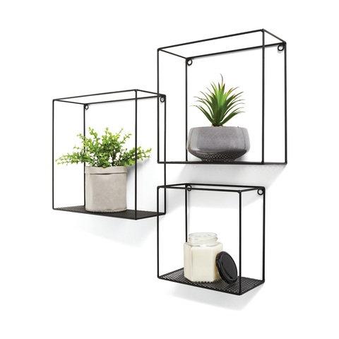3 Pack Black Shelves