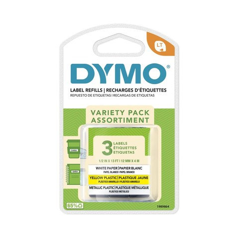 3 Pack Dymo LetraTag Labeller Tape Variety Kit