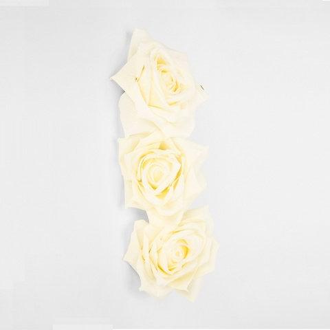 3 Pack Artificial Roses - Cream